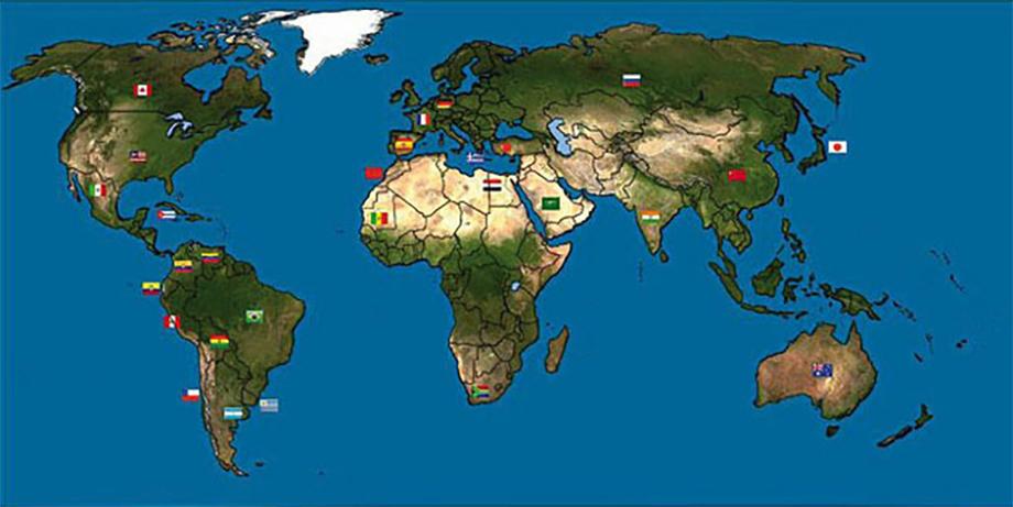 Mapa de los países colaboradores