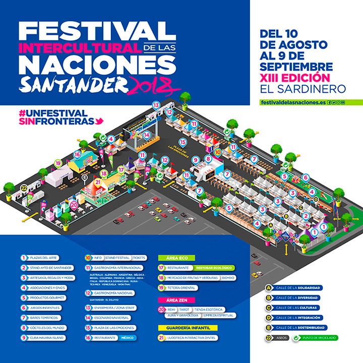 Áreas y calles temáticas del Festival Intercultural de las naciones Santander 2018