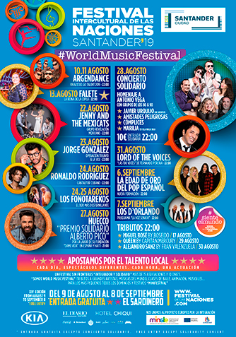 Cartel Artistas Festival Intercultural de las Naciones Santander 2019