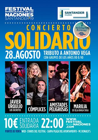 Cartel Concierto Solidario Festival Intercultural de las Naciones Santander 2019
