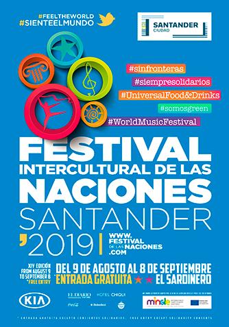 Cartel Institucional Festival Intercultural de las Naciones Santander 2019