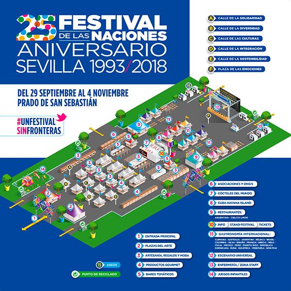 Áreas y calles temáticas del Festival de las Naciones Sevilla 2018