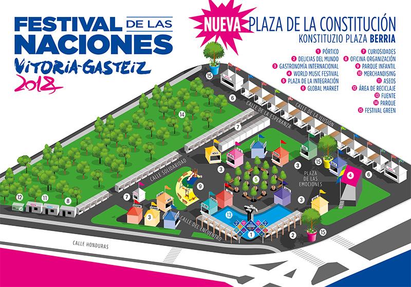 Áreas y calles temáticas del Festival de las Naciones Vitoria-Gasteiz 2018