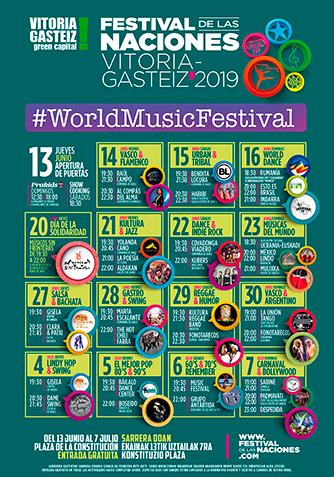 Cartel Programación Festival de las Naciones Vitoria-Gastéiz 2019